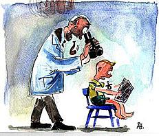 prof bestudeert kind